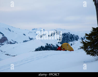 Winter Camping at Elfin Lakes, Garibaldi Provincial Park, British Columbia - Stock Photo
