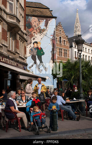 Comic book mural in the street center of Brussels, Belgium. Broussaille by Pe, rue du Marche au Charbon. In Brussels, - Stock Photo