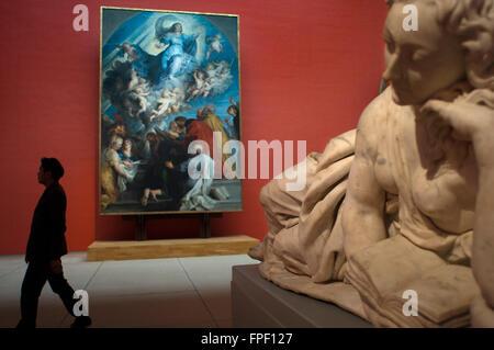 Sculpture 'La Tour de Babel' by Frans Francken II (Anvers 1581-1642) exhibited at the Musée Royaux des Beaux-Arts, - Stock Photo