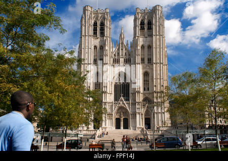 St Michael's and Ste Gudule Cathedral, Brussels, Belgium.  Cathédrale des Sts Michael et Ste Gudule. The construction - Stock Photo