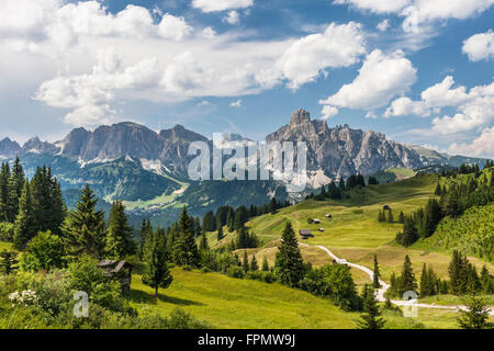 Alp near Corvara, mountains of the Puez group in background, the Dolomites, South Tyrol, Italy, Europe, - Stock Photo