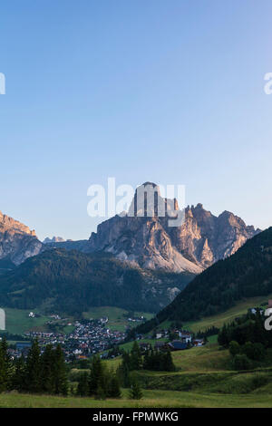 Corvara, Sassongher in the background, the Dolomites, South Tyrol, Italy, Europe, - Stock Photo