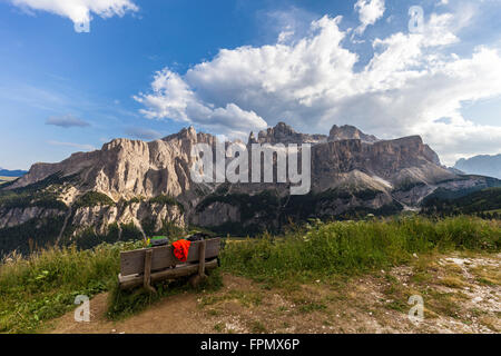 Sella group, view from the Kolfuschg high route, on the right the Grödner Joch, Dolomites, South Tyrol, Italy, Europe, - Stock Photo