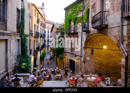 Pujada de Sant Domenec street in the medieval district of Girona, Catalonia, Spain - Stock Photo