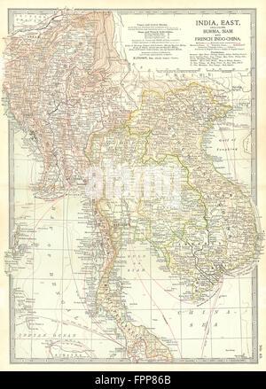 INDOCHINA: Burma, Thailand Siam, Vietnam Annam Cochinchina, Cambodia, 1903 map - Stock Photo