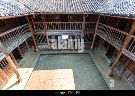 Ha Giang, Vietnam - March 18, 2016: Old building at Sa Phin Town in Ha giang province, Vietnam - Stock Photo
