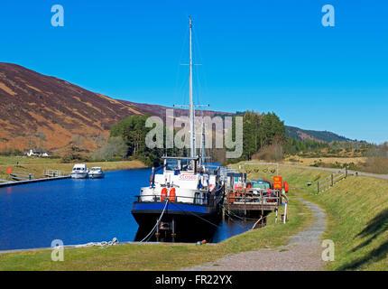 The Caledonian Canal at Laggan Locks, Scottish Highlands, UK - Stock Photo