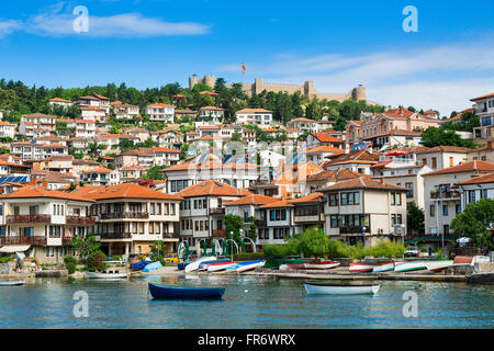 Republic of Macedonia, Ohrid, listed as World Heritage by UNESCO city center by the lake - Stock Photo