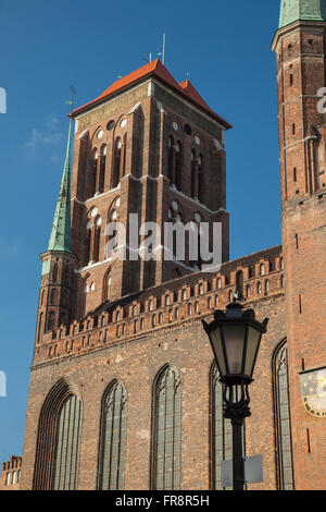 St Mary's Basilica church tower in Gdansk old town, Poland. - Stock Photo
