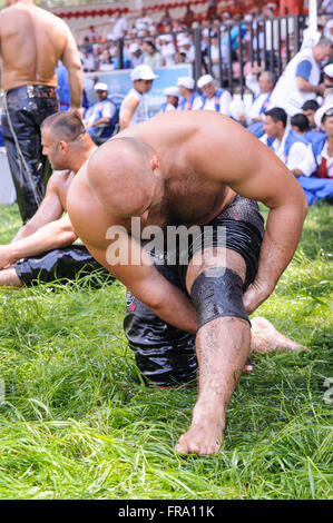 Wrestler getting ready before competition in traditional Kirkpinar wrestling. - Stock Photo