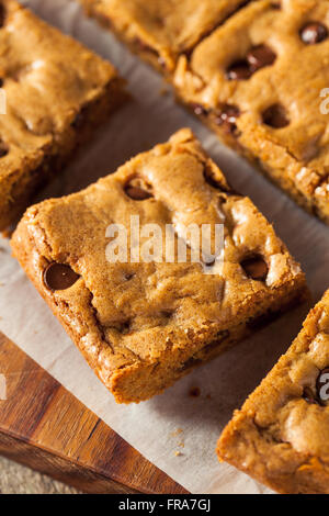 Homemade Chocolate Chip Blondies Cut Into Squares - Stock Photo