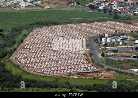 Aerial view of Housing Project New Life in High Pines neighborhood - Stock Photo
