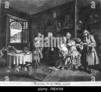 William Hogarth - Marriage à la Mode, Plate 6, (The Death of the Countess) - Stock Photo
