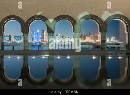 Night view of Museum of Islamic Art in Doha Qatar - Stock Photo