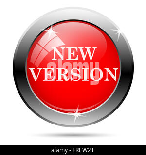 new version icon with white writing on red background - Stock Photo
