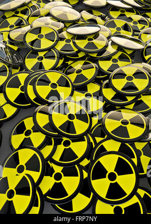 Nuclear badges / 3D render of metallic badges with atomic energy symbol - Stock Photo