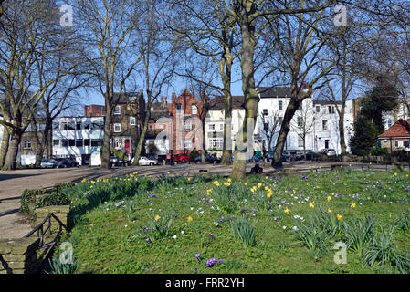 Pond Square with Spring flowers, Highgate Village London England Britain UK - Stock Photo