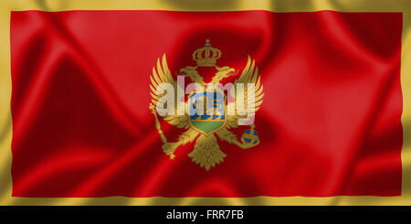 Montenegro flag blowing in the wind. Background texture. - Stock Photo
