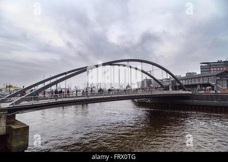 Modern bridge in Baumwall area of Port of Hamburg, Germany - Stock Photo