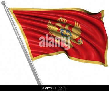 Flag of Montenegro , This is a computer generated and 3d rendered image. - Stock Photo