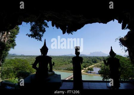 View out of Bayin Nyi Cave near Hpa-An, Karin State, Myanmar, Burma, Asia - Stock Photo