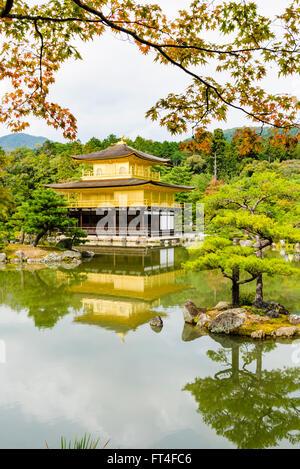 The Kinkaku-ji or Golden Pavilion in Autumn, Kita-ku, Kyoto, Kansai, Japan - Stock Photo