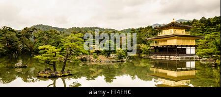 Panorama of the Kinkaku-ji or Golden Pavilion in Autumn, Kita-ku, Kyoto, Kansai, Japan - Stock Photo