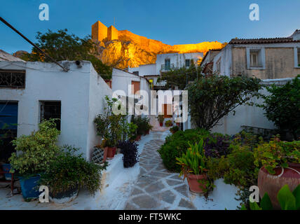 Acropolis as seen from the streets of Anafiotika, - Stock Photo