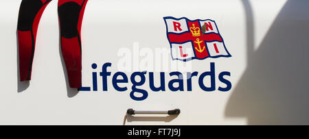 RNLI Storage chest and leggings at New Brighton, Wallsey, UK - Stock Photo