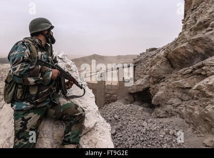 Palmyra, Syria. 26th Mar, 2016. A soldier of the Syrian government army at the Fahkr ad-Din al-Maani castle in Palmyra, - Stock Photo