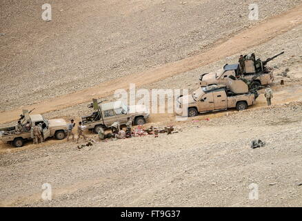 Palmyra, Syria. 26th Mar, 2016. Armoured vehicles of the Desert Falcons militia unit in Palmyra, a UNESCO World - Stock Photo