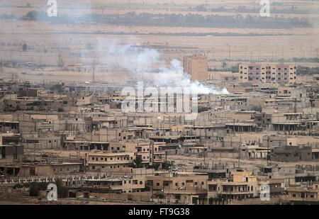 Palmyra, Syria. 26th Mar, 2016. A view of Palmyra, a UNESCO World Heritage Site. The Syrian Government's army is - Stock Photo