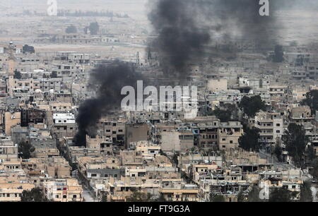 Palmyra, Syria. 26th Mar, 2016. A view of the ancient town of Palmyra, a UNESCO World Heritage Site. The Syrian - Stock Photo