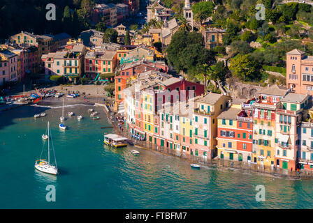 Aerial view of the bay of Portofino - Stock Photo
