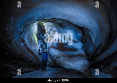 Larsbreen ice cave, Spitsbergen, Svalbard - Stock Photo