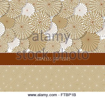 A set of two Japanese style umbrella seamless patterns in a vintage sepia color palette - Stock Photo