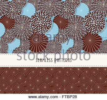 A set of two Japanese style umbrella seamless patterns in a sky blue and brown color palette - Stock Photo
