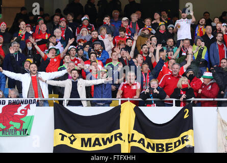 Kyiv, Ukraine. 28th March, 2016. Welsh supporters show their support during Friendly match between Ukraine and Wales - Stock Photo