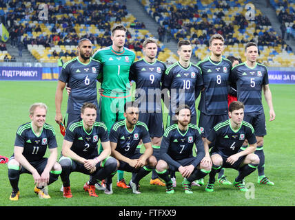 Kyiv, Ukraine. 28th March, 2016. Players of Wales National Team pose for a group photo before the Friendly match - Stock Photo