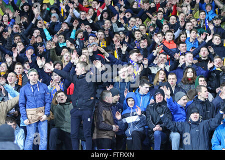 Kyiv, Ukraine. 28th March, 2016. Ukrainian supporters show their support during Friendly match between Ukraine and - Stock Photo