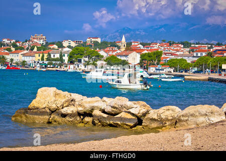 Novalja beach and waterfront on Pag island, Croatia - Stock Photo