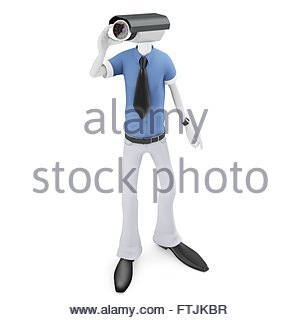 3d man security camera surveillance on white background - Stock Photo