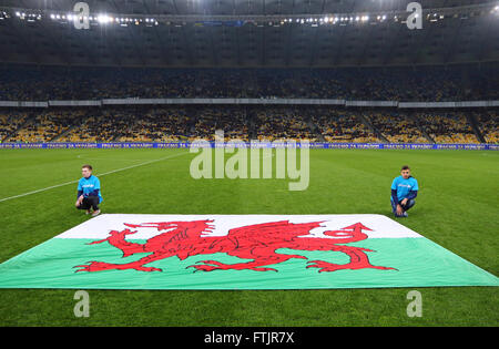 Kyiv, Ukraine. 28th March, 2016. Flag of Wales on the pitch before Friendly match against Ukraine at NSC Olympic - Stock Photo