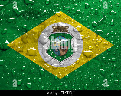 State of Ceara flag with rain drops - Stock Photo