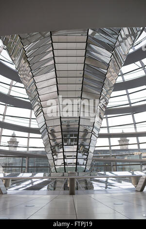 Inside view of Reichstag glass dome - current seat of the German Parliament - Stock Photo