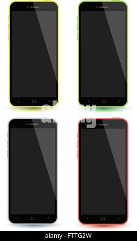 Mockup smartphones set vector realistic style. Vector illustration realistic. Can use for printing and web element. - Stock Photo
