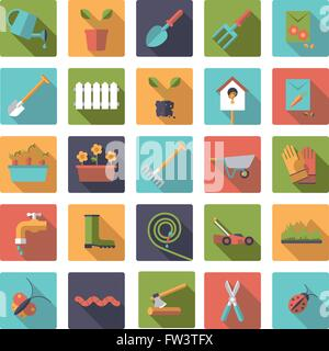 Flat design long shadow gardening icons in rounded squares - Stock Photo