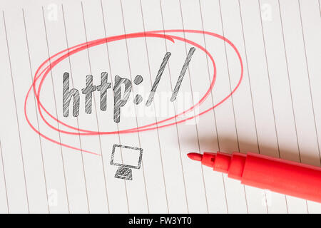 Http word on linear paper with a computer sketch - Stock Photo