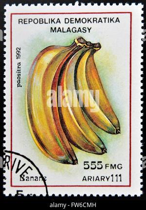 REPUBLICA MALAGASY - CIRCA 1992: A stamp printed in Madagascar shows Bananas, Musa, Fruit, circa 1992 - Stock Photo