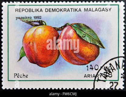 REPUBLICA MALAGASY - CIRCA 1992: A stamp printed in Madagascar shows Peaches, Prunus Persica, Fruit, circa 1992 - Stock Photo